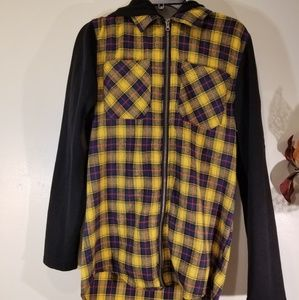 Yellow plaid hoodie size small
